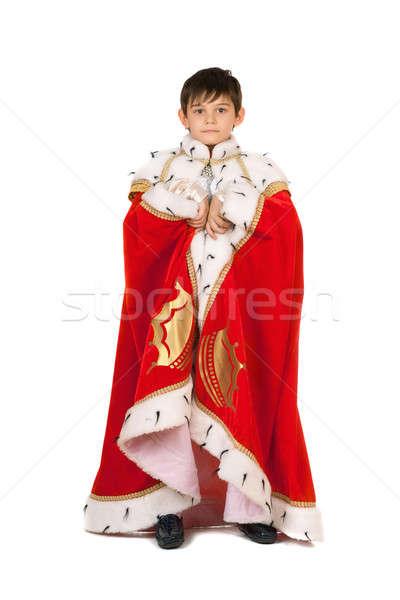 Fiú köntös király izolált fehér színház Stock fotó © acidgrey