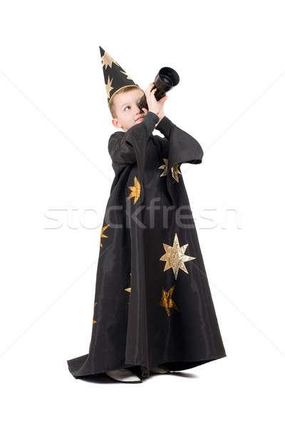 Guardando telescopio ragazzo bambino star kid Foto d'archivio © acidgrey
