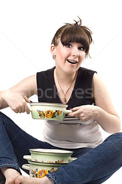 Mad gospodyni domowa rondel funny zdjęcie kobiet Zdjęcia stock © acidgrey