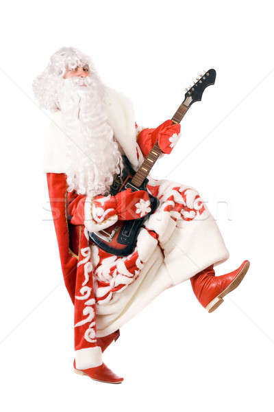 Ded Moroz plays on broken guitar. Isolated Stock photo © acidgrey
