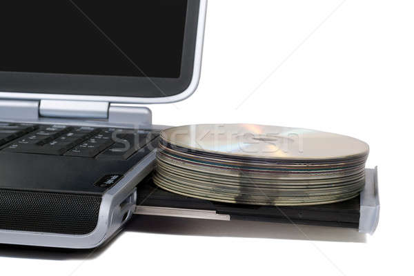 Laptop with overloaded DVD Drive. Isolated on white background Stock photo © acidgrey