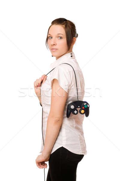 Gorgeous brunette lady with a joystick Stock photo © acidgrey