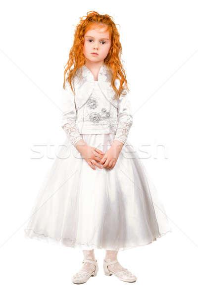 Kicsi vörös hajú nő lány pózol szép fehér ruha Stock fotó © acidgrey