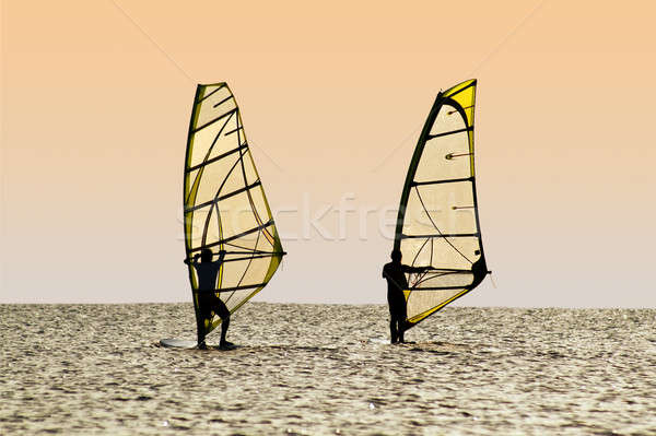Silhouettes of two windsurfers on waves of a gulf  Stock photo © acidgrey