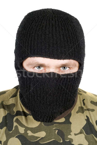 Portrait of  the man in a black mask over white Stock photo © acidgrey