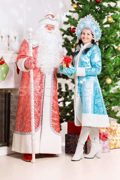 Snow maiden and santa claus Stock photo © acidgrey