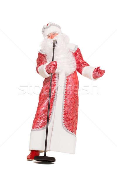 Santa Claus with a microphone Stock photo © acidgrey