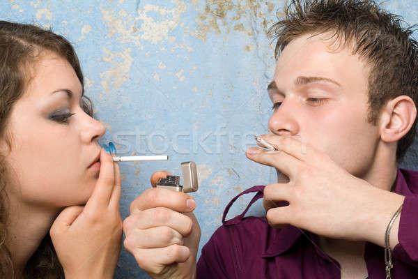 Sigarette accendino donna uomo moda Foto d'archivio © acidgrey