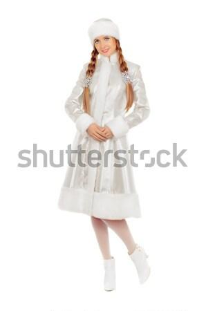 Boldog hó hajadon izolált fehér divat Stock fotó © acidgrey