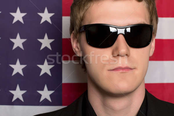 Człowiek okulary amerykańską flagę biznesmen banderą Zdjęcia stock © acidgrey