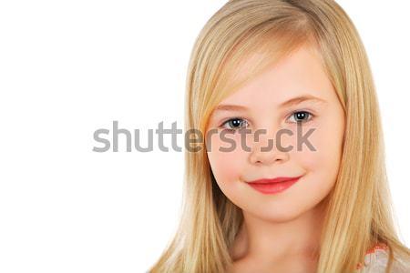 Pequeño rubio nina retrato encantador sonrisa Foto stock © acidgrey