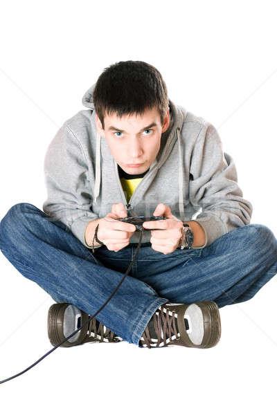 Genç joystick oyun konsol kot video Stok fotoğraf © acidgrey