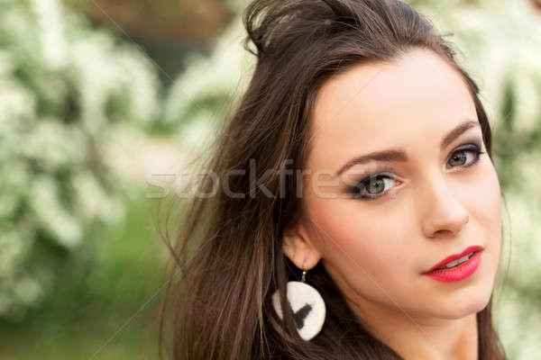 Young pretty brunette Stock photo © acidgrey
