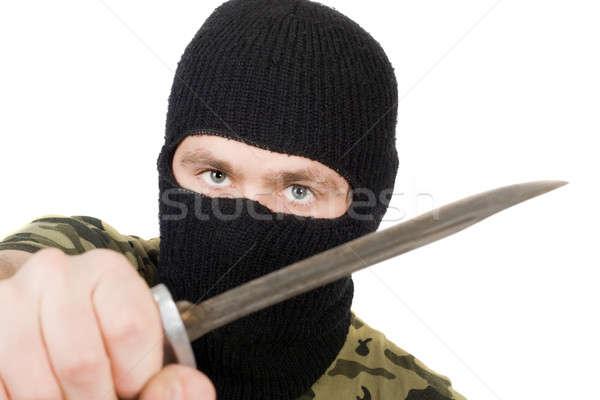 Retrato assassino faca mãos homem máscara Foto stock © acidgrey