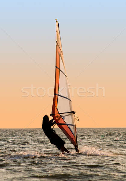 Silhouette of a windsurfer on a gulf  Stock photo © acidgrey