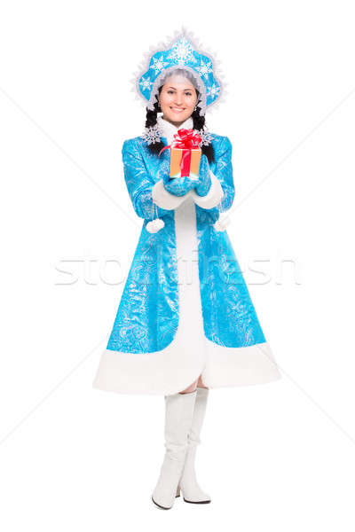 Stock photo: Pretty woman in a suit of snow maiden