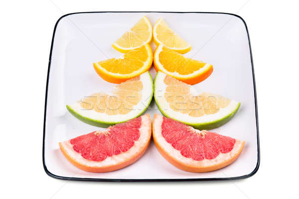 Grapefruit narancs citrom izolált fehér piros Stock fotó © acidgrey