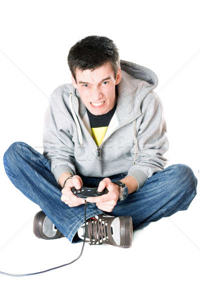 Rabbioso ragazzo joystick gioco consolare isolato Foto d'archivio © acidgrey