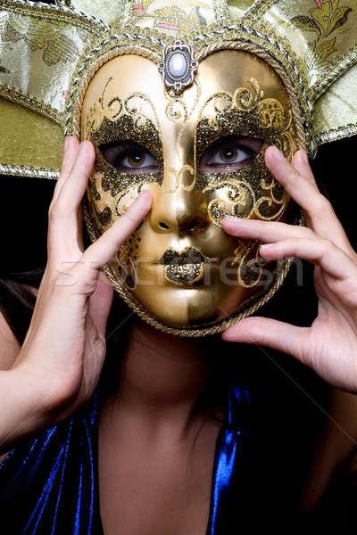 Fată venetian masca portret femeie faţă ochi Imagine de stoc © acidgrey