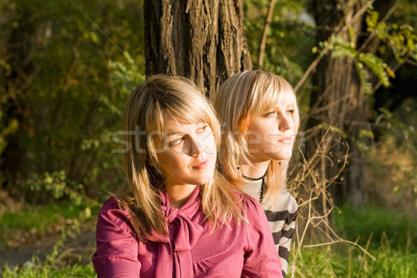Two beauty young blondes in the light of the sunset Stock photo © acidgrey