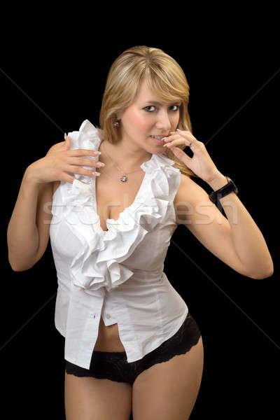 Seksi genç beyaz gömlek siyah Stok fotoğraf © acidgrey