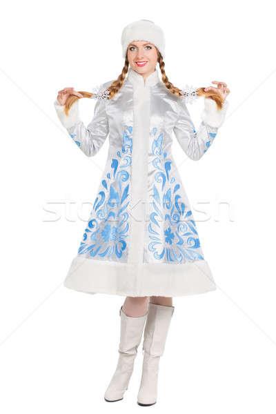Nő öltöny hó hajadon vonzó nő izolált Stock fotó © acidgrey