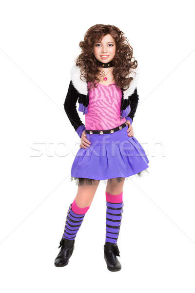 Trendi kicsi barna hajú pózol lila öltöny Stock fotó © acidgrey