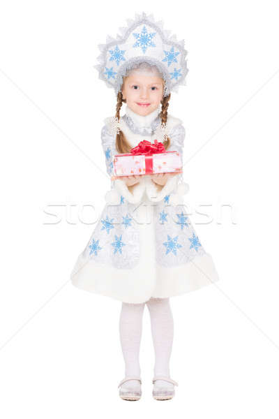 Stock photo: Little girl in snow maiden costume