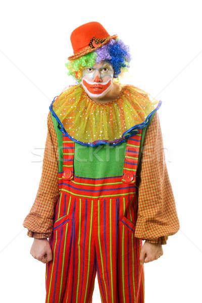 Portret okrutny clown odizolowany biały etapie Zdjęcia stock © acidgrey