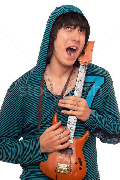 çılgın genç küçük gitar yalıtılmış müzik Stok fotoğraf © acidgrey