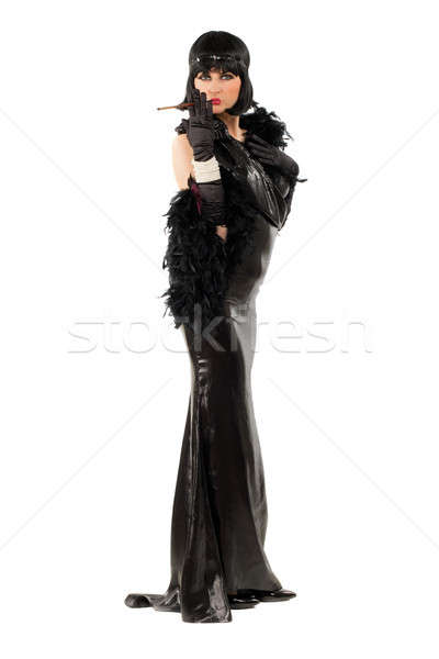 Fiatal barna hajú retró stílus cigaretta modell szépség Stock fotó © acidgrey