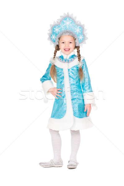 Girl posing in snow maiden costume Stock photo © acidgrey