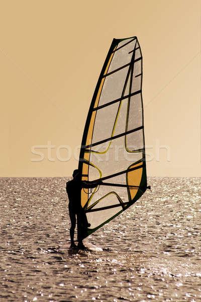 Stockfoto: Silhouet · golven · man · sport · zomer · golf