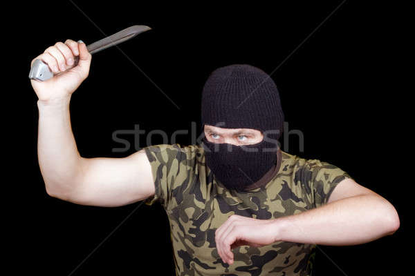 The murderer with a knife in a black mask Stock photo © acidgrey