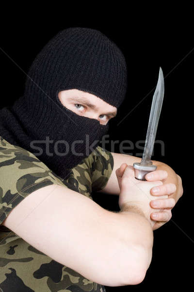 The criminal with a knife in a black mask Stock photo © acidgrey