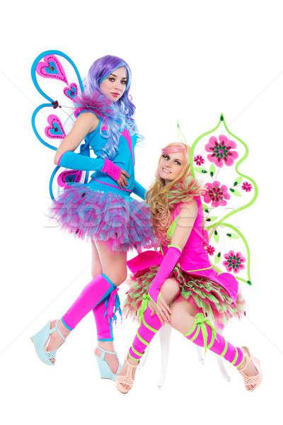 Foto stock: Dois · mulheres · posando · colorido · borboleta