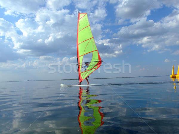 Tükröződés víz öböl tengerpart fény tenger Stock fotó © acidgrey