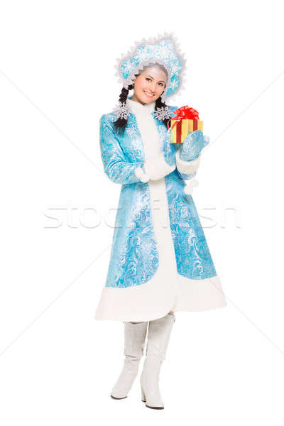 Beautiful woman in a suit of snow maiden Stock photo © acidgrey
