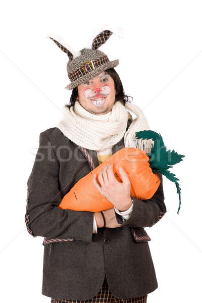 Portrait jeune homme carotte costume lapin main Photo stock © acidgrey