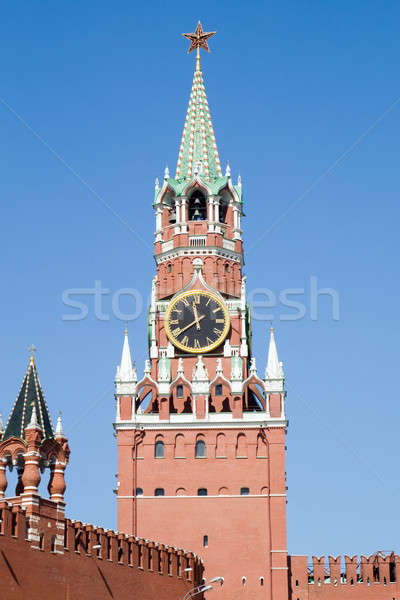 Stock photo: Kremlin tower with clock in Moscow