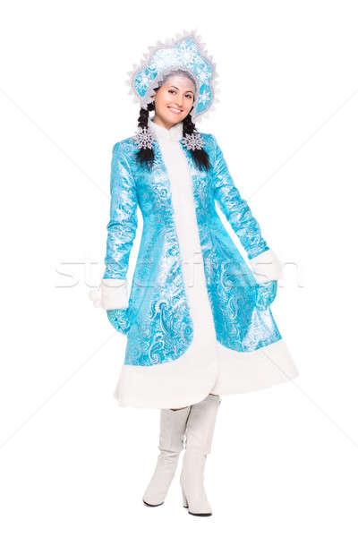 Jóvenes morena posando invierno traje aislado Foto stock © acidgrey