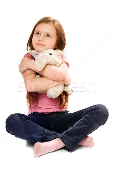 Bastante little girl teddy elefante mãos sorrir Foto stock © acidgrey