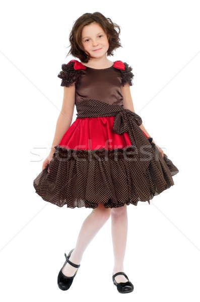 Csinos kislány ruha izolált nő boldog Stock fotó © acidgrey