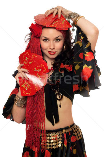 Portrait of expressive gypsy woman Stock photo © acidgrey