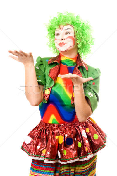 Portrait of expressive female clown Stock photo © acidgrey