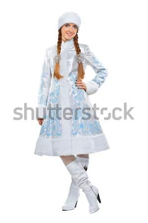 Hó hajadon izolált boldog fiatal nő fehér Stock fotó © acidgrey