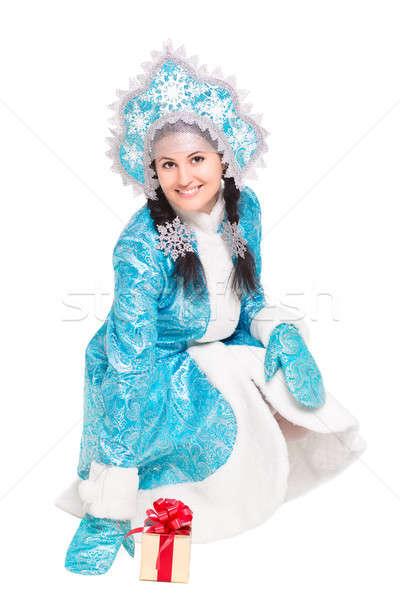 Young joyful woman posing in winter costume Stock photo © acidgrey