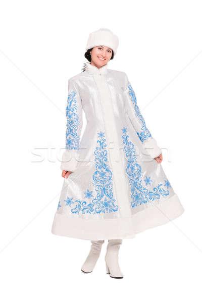 Morena posando invierno traje jóvenes aislado Foto stock © acidgrey