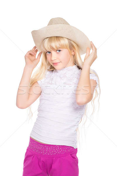 Portrait of nice little blond Stock photo © acidgrey