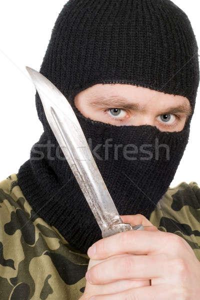 Retrato criminal negro máscara cuchillo manos Foto stock © acidgrey